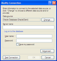 Modify Connection OracleClient
