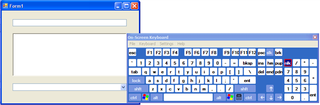 On Screen Keyboard appearing to the right of the active control